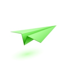 Green paper airplane vector image vector image