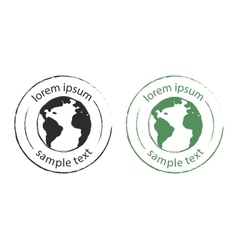 Grunge scratched earth logo green black vector