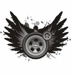 grunge winged wheel vector image vector image