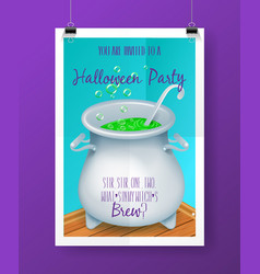 halloween party invitation poster with hand vector image vector image