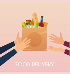 hand holding food in package food delivery vector image vector image