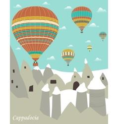 Hot air balloons in cappadocia vector