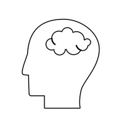 Human head brain mind outline vector