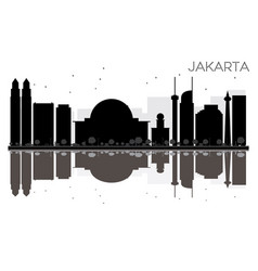 jakarta city skyline black and white silhouette vector image