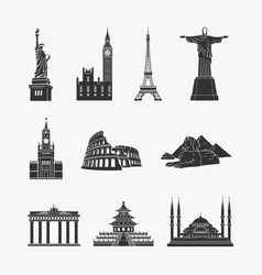 landmarks symbols vector image