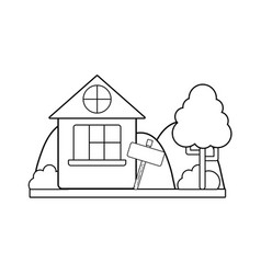 Line home with design next to tree vector