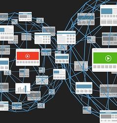 Modern digital media website connection vector image