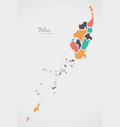 Palau map with states and modern round shapes vector