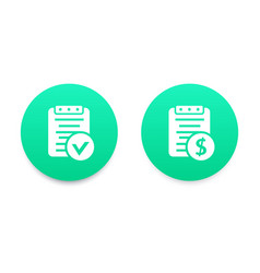 payroll bill icons green over white vector image vector image
