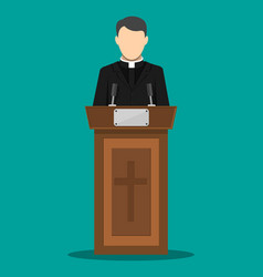 priest giving speech from tribune vector image vector image