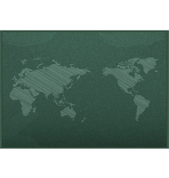 Realistic blackboard drawing a map vector
