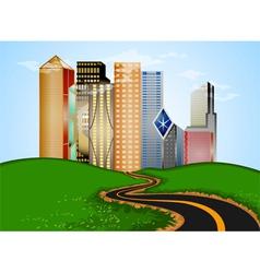 Road into city vector image vector image