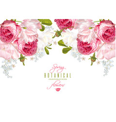 romantic flowers horizontal banner vector image