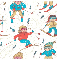 skiers seamless vector image vector image