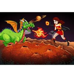 Superhero fighting dragon on red planet vector
