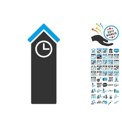 Time tower icon with 2017 year bonus symbols vector