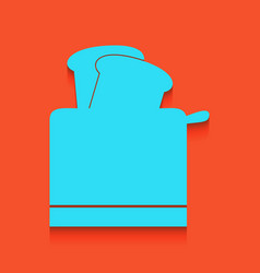Toaster simple sign whitish icon on brick vector