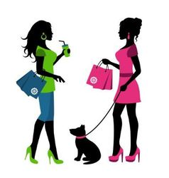 Two women with bags and a dog on a leash vector