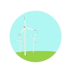 Wind turbines energy farm color blue green icon vector