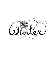 Winter text lettering with snowflake seasonal vector