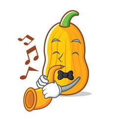 With trumpet butternut squash mascot cartoon vector