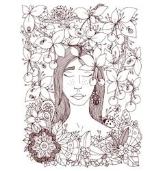 Zen tangle girl and cherry vector