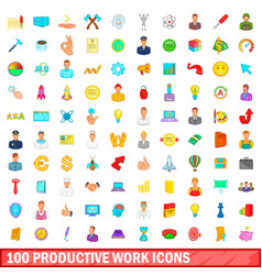 100 productive work icons set cartoon style vector