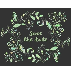 Green greeting or save the date card vector