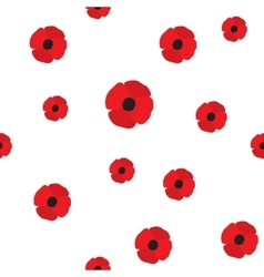 Poppy flowers seamless pattern vector