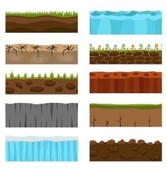 Ground slices set vector