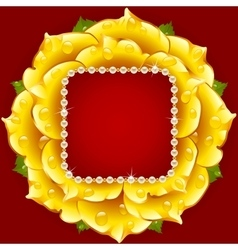 Yellow rose circle frame vector