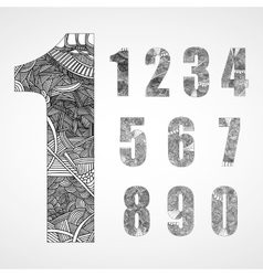 Set of number with hand drawn abstract doodle vector image
