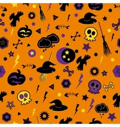 Halloween symbols on orange background vector
