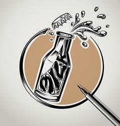 milk bottle typography logo design vector image