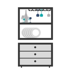 Gray scale medium cupboard with items of kitchen vector