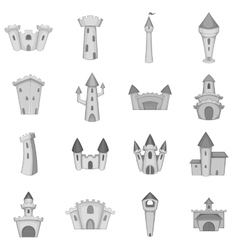 Castle tower icons set monochrome style vector