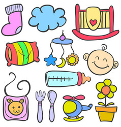 doodle of baby various toys vector image