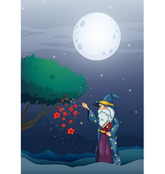 A wizard holding a magic book and a wand vector image