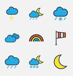 weather colored outlines set collection of lunar vector image