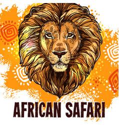 African lion poster safari hunting poster vector