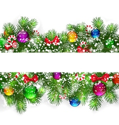 Christmas background with snow-covered branches of vector