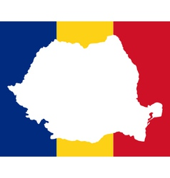 Map and flag of Romania vector image