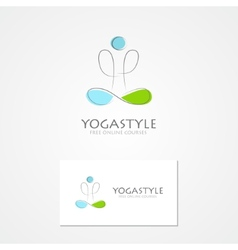 Logo man in yoga pose vector
