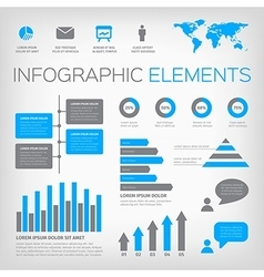 Blue and gray infographic elements vector