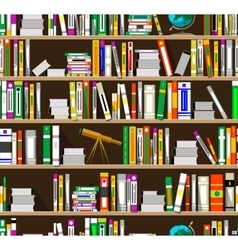 Cartoon bookshelves in the library vector image
