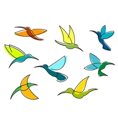 Blue orange and green hummingbirds icons vector image