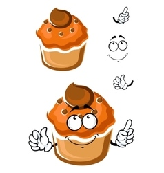 Funny cartoon fresh muffin with topping vector
