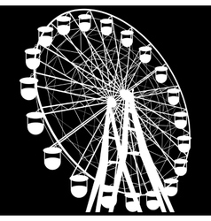 Silhouette atraktsion colorful ferris wheel vector