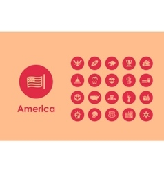 Set of united states simple icons vector