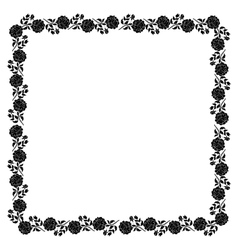 Delicate frame with black peony flowers vector